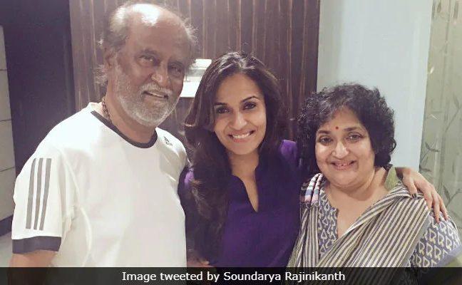 Soundarya with her parents Rajinikanth and Latha. (Image courtesy: Twitter)